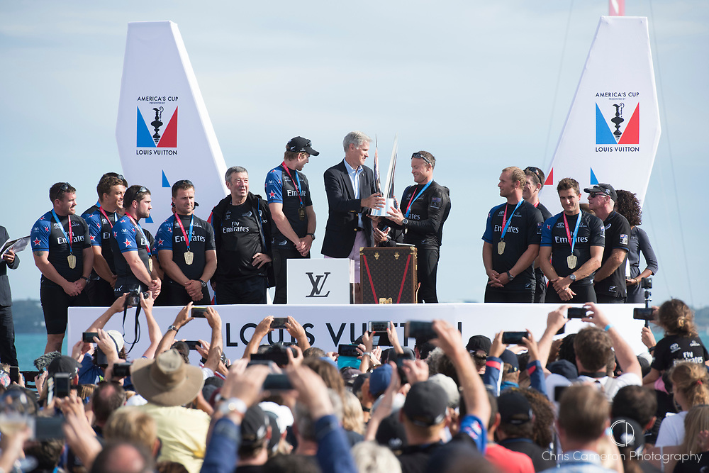 Americas's Cup Village, Bermuda 12th June 2017. Emirates Team New Zealand skipper Glenn Ashby is presented with the Louis Vuitton Challenger Trophy after winning the Louis Vuitton America's Cup Challenger series.