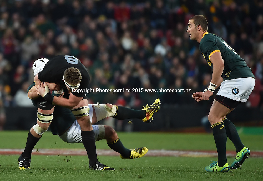 JOHANNESBURG, South Africa, 25 July 2015 : Kieran Read of the All Blacks is tackled by Heinrich Brussow of the Springboks during the Castle Lager Rugby Championship test match between SOUTH AFRICA and NEW ZEALAND at Emirates Airline Park in Johannesburg, South Africa on 25 July 2015. Bokke 20 - 27 All Blacks<br /> <br /> &copy; Anton de Villiers / SASPA