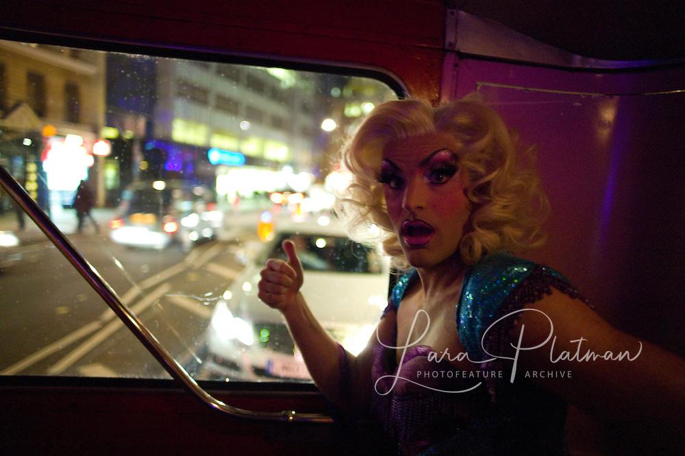 Priscilla Queen of the Desert Pink Bus night