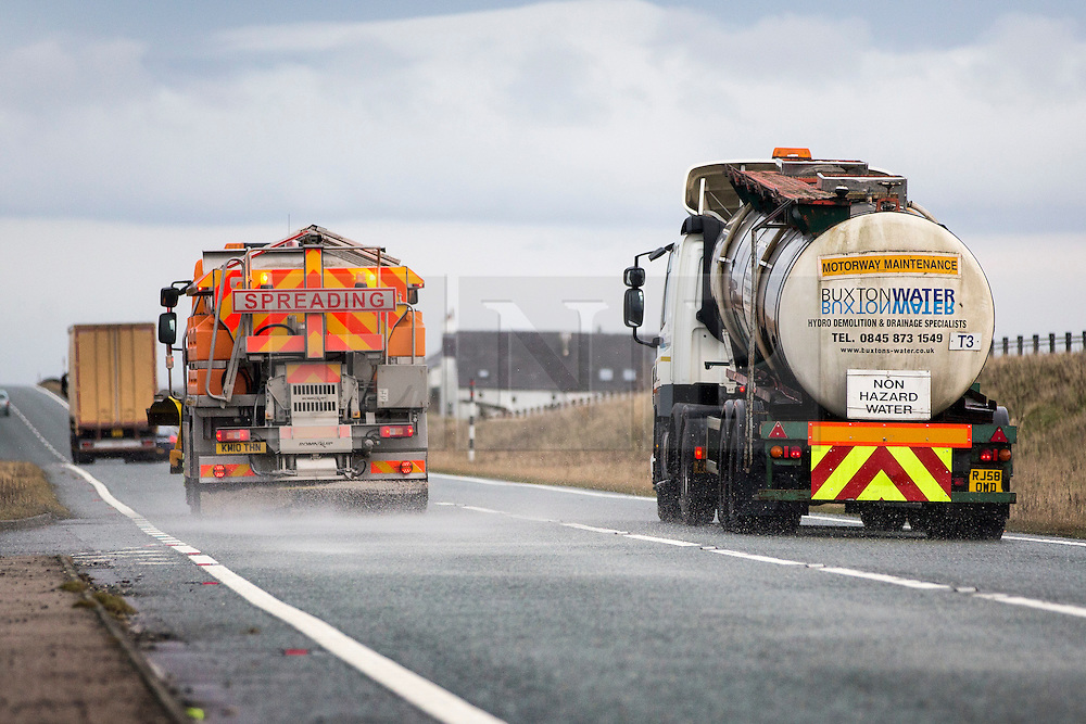 © Licensed to London News Pictures. 13/01/2016. Brough UK. Gritters are out in force this afternoon on the A66 in Cumbria ahead of tonights big freeze. Photo credit: Andrew McCaren/LNP