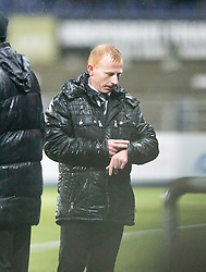 Dumbarton's manager Stephen Aitken. <br /> Falkirk 1 v 0 Dumbarton, Scottish Championship game played 26/12/2015 at The Falkirk Stadium.