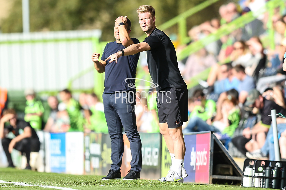 Forest Green Rovers Matt Mills(5) gives out instructions during the EFL Sky Bet League 2 match between Forest Green Rovers and Colchester United at the New Lawn, Forest Green, United Kingdom on 14 September 2019.