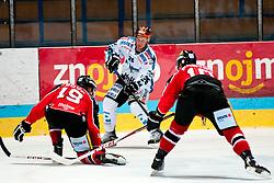 08.10.2013, Zimni Stadion, Zneim, CZE, EBEL, HC Orli Znojmo vs EHC Black Wings Linz, 18. Runde, im Bild Rob Hisey (Linz #26) Ales Sova (Znojmo #19) David Bartos (Znojmo #10) // during the Erste Bank Icehockey League 18th round match betweeen HC Orli Znojmo and EHC Black Wings Linz, at the Zimni Stadium, Znojmo, Czech Republic on 2013/10/08. EXPA Pictures © 2013, PhotoCredit: EXPA/ Rostislav Pfeffer
