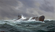 World War II 9139-1945: 'Submarine at sea 1943'. German navy U-boat travelling on surface in a choppy sea, crew members on conning tower. By German marine artist Adolf Bock 1890-1968.