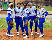 Hampton University Lady Pirates (L-R) Carla Trimble, Sharde' Estep, Bre'Anna Brown, Rebecca Magett and Nina Ferguson pose prior to their doubleheader split against Morgan State University at the Lady Pirates Softball Complex on the campus of Hampton University in Hampton, Virginia.  (Photo by Mark W. Sutton)