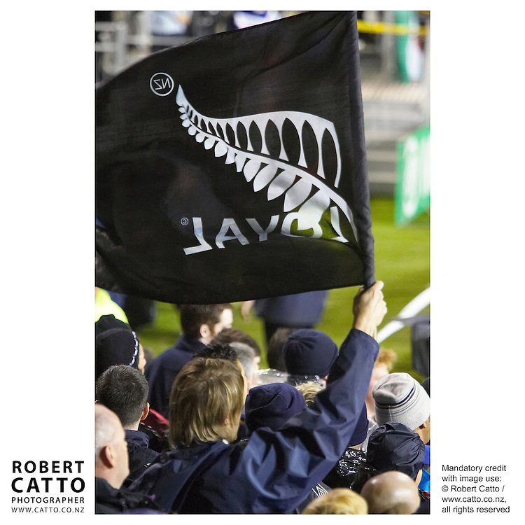 All Blacks Fans at the British &amp; Irish Lions v. Auckland Blues Match at Eden Park, Auckland, New Zealand.<br />
