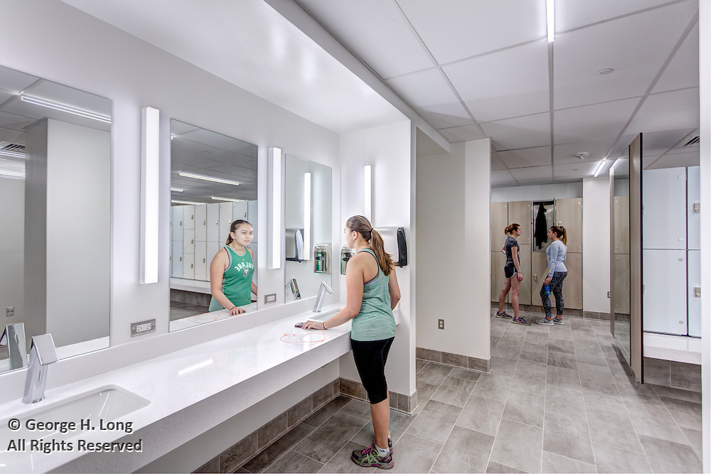 Locker room at the Reily Student Recreation Center; Tulane University Campus Recreation; for Studio WTA Architects