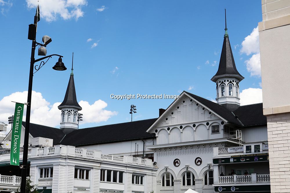 The remarkable and recognizable twin spires of historic Churchill Downs in Louisville, Kentucky