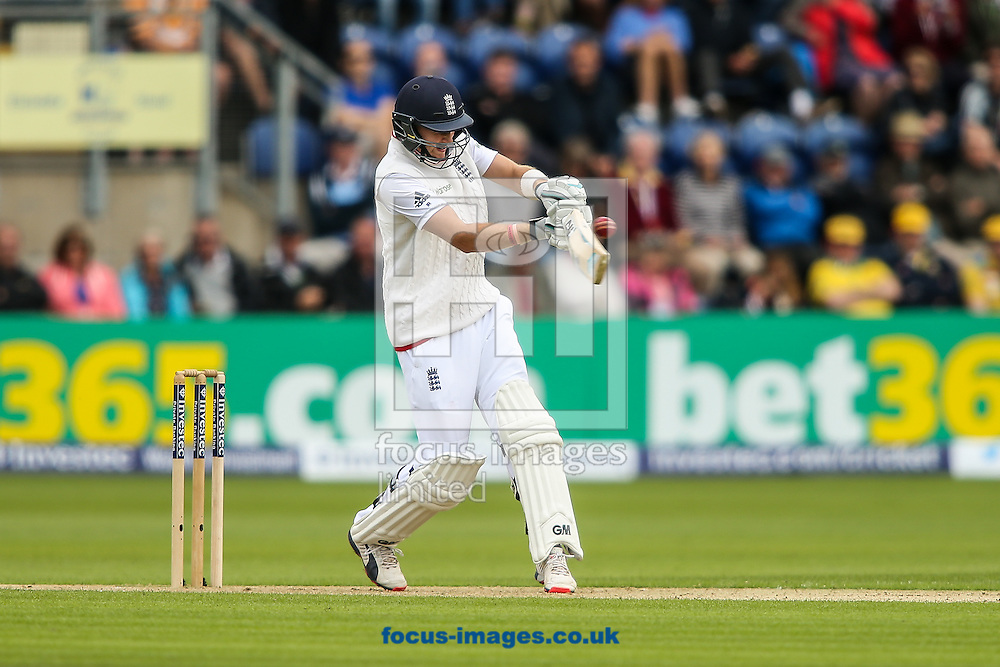 Joe Root of England pulls during the Investec Ashes Series Test Match at Sophia Gardens, Cardiff<br /> Picture by Andy Kearns/Focus Images Ltd 0781 864 4264<br /> 08/07/2015