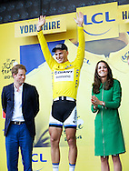 HARROGATE, UNITED KINGDOM: German Marcel Kittel of Team Giant-Shimano Britains Prince Harry, Princess Kate and Prince William pictured on the podium of the first stage of the 101st edition of the Tour de France cycling race, 190,5 km from Leeds to Harrogate, United Kingdom on Saturday 05 July 2014 COPYRIGHT ROBIN UTRECHT