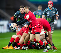 Richard Wigglesworth of Saracens box kicks<br /> <br /> Photographer Simon King/Replay Images<br /> <br /> European Rugby Champions Cup Round 5 - Ospreys v Saracens - Saturday 11th January 2020 - Liberty Stadium - Swansea<br /> <br /> World Copyright © Replay Images . All rights reserved. info@replayimages.co.uk - http://replayimages.co.uk