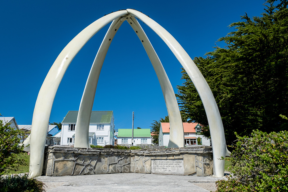 The Whalebone Arch located in a park in Stanley, East Falkland Island, Falkland Islands.
