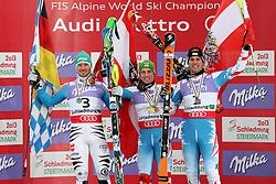 17.02.2013, Planai, Schladming, AUT, FIS Weltmeisterschaften Ski Alpin, Slalom,  Herren, Siegerpraesentation, im Bild Felix Neureuther (GER, 2. Platz), Marcel Hirscher (AUT, 1. Platz), Mario Matt (AUT, 3. Platz) // 2nd place Felix Neureuther of Germany, 1st place Marcel Hirscher of Austria, 3rd place Mario Matt of Austria on Winners Presentation during Mens Slalom at the FIS Ski World Championships 2013 at the Planai Course, Schladming, Austria on 2013/02/17. EXPA Pictures © 2013, PhotoCredit: EXPA/ Martin Huber