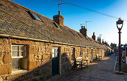 Row of historic cottages at Footsoy in Aberdeen, Scotland, UK