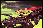 Ashley Doubtfire preparing to take off from Mt Kilimanjaro. Dangerous Sports Club. 1978 approx *** Local Caption *** -DO NOT ARCHIVE-© Copyright Photograph by Dafydd Jones. 248 Clapham Rd. London SW9 0PZ. Tel 0207 820 0771. www.dafjones.com.