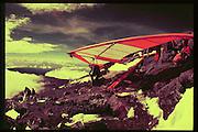 Ashley Doubtfire preparing to take off from Mt Kilimanjaro. Dangerous Sports Club. 1978 approx *** Local Caption *** -DO NOT ARCHIVE-© Copyright Photograph by Dafydd Jones. 248 Clapham Rd. London SW9 0PZ. Tel 0207 820 0771. www.dafjones.com.