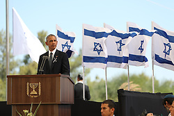 JERUSALEM, Sept. 30, 2016 (Xinhua) -- U.S. President Barack Obama delivers a eulogy during the funeral of Israel's former president Shimon Peres at Mount Herzl cemetery in Jerusalem, Sept. 30, 2016. (Xinhua/Guo yu) (lrz) (Credit Image: © Guo Yu/Xinhua via ZUMA Wire)