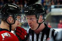 KELOWNA, BC - DECEMBER 30: Line official Cody Wanner speaks to a player of the Prince George Cougars against the Kelowna Rockets  at Prospera Place on December 30, 2019 in Kelowna, Canada. (Photo by Marissa Baecker/Shoot the Breeze)