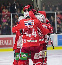 22.03.2019, Stadthalle, Klagenfurt, AUT, EBEL, EC KAC vs HCB Suedtirol Alperia, Viertelfinale, 5. Spiel, im Bild Thomas KOCH (EC KAC, #18), Andrew KOZEK (EC KAC, #10), Matt NEAL (EC KAC, #50), Adam COMRIE (EC KAC, #44), David FISCHER (EC KAC, #3) // during the Erste Bank Icehockey 5th quarterfinal match between EC KAC and HCB Suedtirol Alperia at the Stadthalle in Klagenfurt, Austria on 2019/03/22. EXPA Pictures © 2019, PhotoCredit: EXPA/ Gert Steinthaler