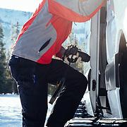 Doug Wachob climbs aboard the Teton Science School's 4 x 4 Sprinter.