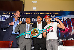 "LOS ANGELES, CA - APRIL 1: Undefeated WBC Flyweight World Champion Roman ""Chocolatito"" Gonzalez (42-0, 36 KOs), 27, of Nicaragua and #2 Ranked Flyweight Contender Edgar Sosa (51-8, 30 KOs), 35, of Mexico, attend their press conference to announce Gonzalez vs Sosa on May 16, 2015 at the Forum in Los Angeles, California and telecast on HBO Word Championship Boxing beginning at 10:00pm ET/PT. 2015 April 1. Byline, credit, TV usage, web usage or linkback must read SILVEXPHOTO.COM. Failure to byline correctly will incur double the agreed fee. Tel: +1 714 504 6870."