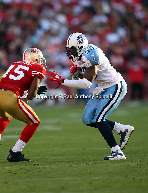 Tennessee Titans linebacker Keith Bulluck (53) chases the action during the NFL football game against the San Francisco 49ers, November 8, 2009 in San Francisco, California. The Titans won the game 34-27. (©Paul Anthony Spinelli)