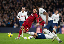 LONDON, ENGLAND - Saturday, January 11, 2020: Liverpool's Roberto Firmino (L) is tackled by Tottenham Hotspur's Toby Alderweireld during the FA Premier League match between Tottenham Hotspur FC and Liverpool FC at the Tottenham Hotspur Stadium. (Pic by David Rawcliffe/Propaganda)