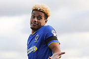 AFC Wimbledon striker Lyle Taylor (33) celebrating after scoring goal to make it 1-0 during the EFL Sky Bet League 1 match between AFC Wimbledon and Peterborough United at the Cherry Red Records Stadium, Kingston, England on 12 November 2017. Photo by Matthew Redman.