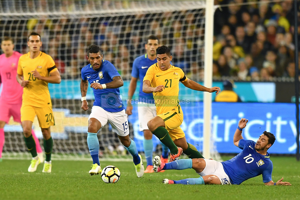 June 13, 2017 - Melbourne, Victoria, Australia - MASSIMO LUONGO (21) of Australia is fouled in an international friendly match between Brazil and Australia at the Melbourne Cricket Ground on June 13, 2017 in Melbourne, Australia. Brazil won 4-0 (Credit Image: © Sydney Low via ZUMA Wire)