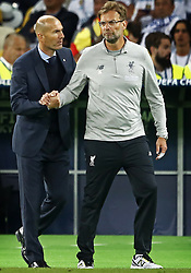 L--R) Zinedine Zidane of Real madrid CF, Jurgen Klopp of Liverpool FC during the UEFA Champions League final between Real Madrid and Liverpool on May 26, 2018 at NSC Olimpiyskiy Stadium in Kyiv, Ukraine