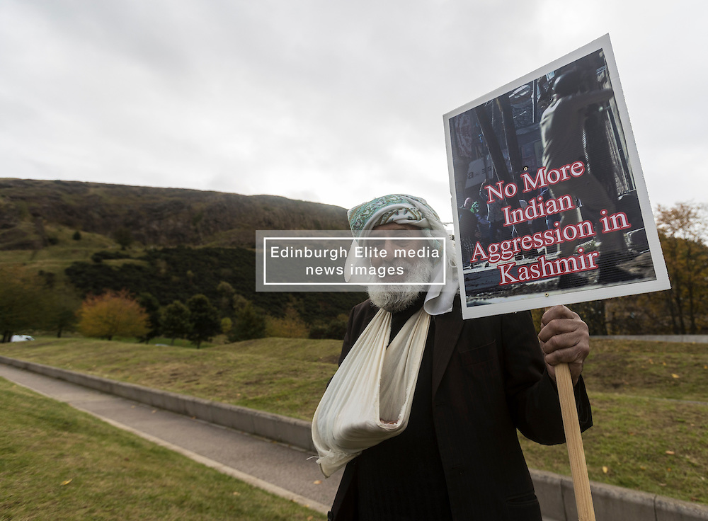 Scottish Human Rights Forum stages rally outside Scottish Parliament calling for human rights laws to be protected in Kashmir.