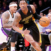 28 February 2014: Los Angeles Lakers shooting guard MarShon Brooks (2) drives past Sacramento Kings point guard Isaiah Thomas (22) during the Los Angeles Lakers 126-122 victory over the Sacramento Kings at the Staples Center, Los Angeles, California, USA.