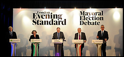 (L to R) Boris Johnson, Jenny Jones,  Ken Livingstone and Brian Paddick during the Evening Standard Mayoral Election Debate, London, UK, April 11, 2012. Photo By Andrew Parsons / i-Images.