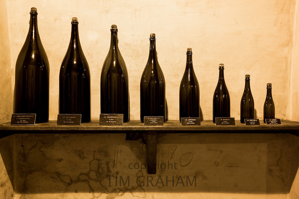 Demie, Magnum, Jeroboam, Methusalem, Balthazar, Salmanazar, Nebuchadnezzar bottles at Champagne Taittinger in Reims, France