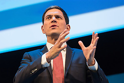 © Licensed to London News Pictures. 06/10/2015. London, UK. DAVID MILIBAND speaks at the Institute of Directors (IoD) Annual Convention 2015, held at the Royal Albert Hall in London. Photo credit : Vickie Flores/LNP