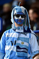 An Argentina fan in the crowd - Mandatory byline: Patrick Khachfe/JMP - 07966 386802 - 04/10/2015 - RUGBY UNION - Leicester City Stadium - Leicester, England - Argentina v Tonga - Rugby World Cup 2015 Pool C.