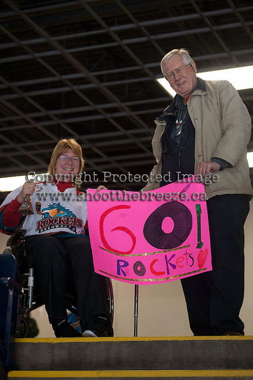 KELOWNA, CANADA - NOVEMBER 7:  Kelowna Rockets fans show their team support on November 7, 2014 at Prospera Place in Kelowna, British Columbia, Canada.  (Photo by Marissa Baecker/Shoot the Breeze)  *** Local Caption *** Fans