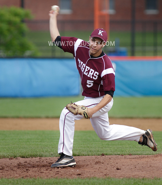 Kingston's Sam Einhorn pitches during a state Class AA quarterfinal baseball game at SUNY New Paltz on Tuesday, June 5, 2012.