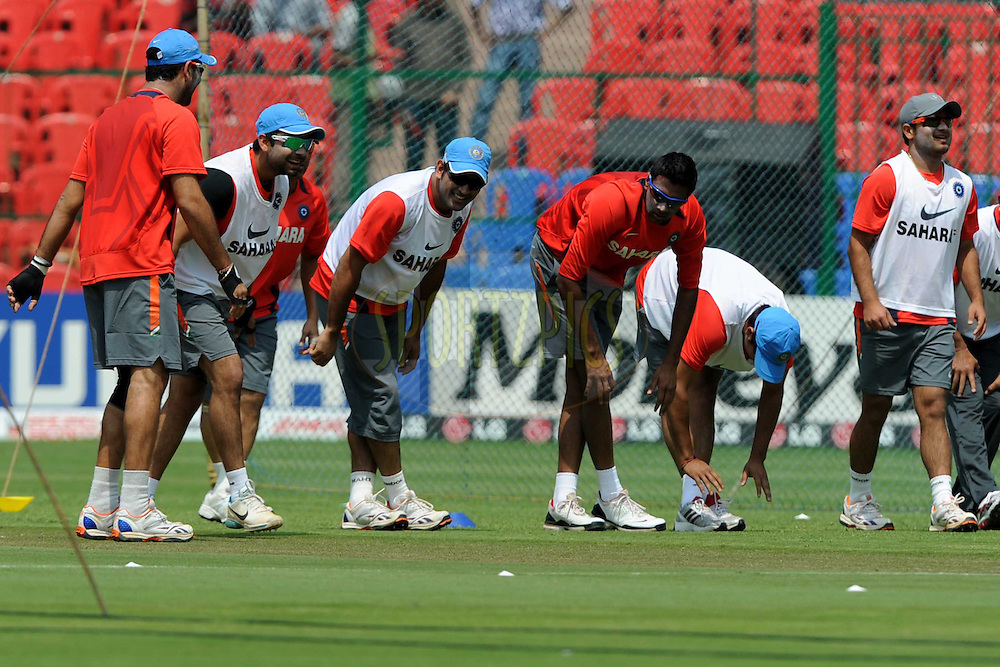 Indian cricket team during a practice session before the start of the ICC Cricket World Cup match between India and England held at the M Chinnaswamy Stadium in Bengaluru, Bangalore, Karnataka, India on the 27th February 2011..Photo by Pal Pillai/BCCI/SPORTZPICS ..