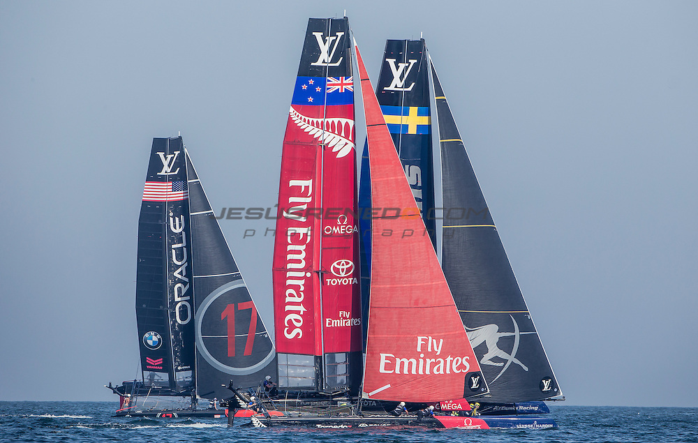America's Cup arrives in Muscat.Practice race.Louis Vuitton America's Cup World Series Oman 2016.First day of racing.Emirates Team New Zealand,Glenn Ashby,Pete Burling,Ray Davies,Blair Tuke,Guy EndeanMuscat ,The Sultanate of Oman.Image licensed to Jesus Renedo/Lloyd images/Oman Sail