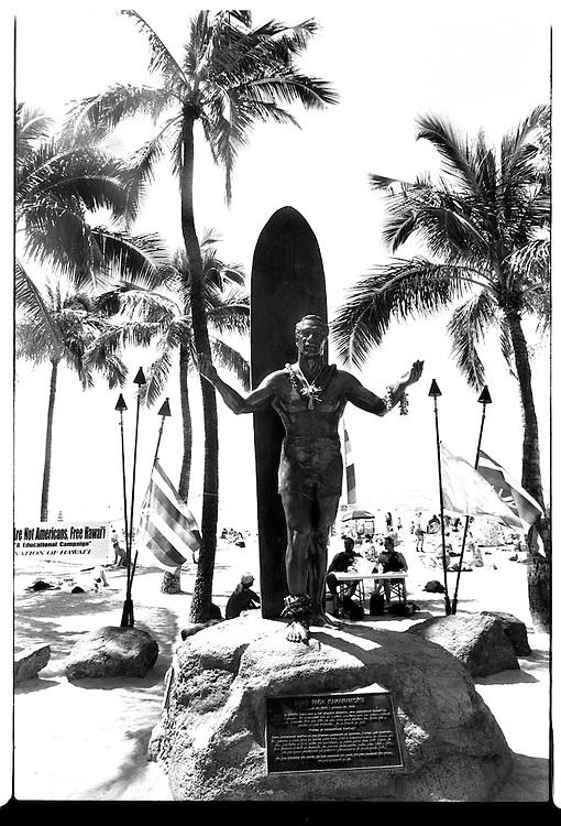 The statue honoring Duke Paoa Kahanamoku is a famous landmark in Waikiki Beach on the island Oahu, Hawaii.