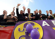 © Licensed to London News Pictures. 26/04/2012. London, UK . Nigel Farage and supporters on the UKIP election bus. The UK Independence Party (UKIP) local election campaign launch at St Stephen's Club, Central London. Photo credit : Stephen Simpson/LNP