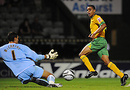Yeovil - Tuesday, August 11th, 2009: Tom Adeyemi of Norwich City sees his shot on goal saved during the Carling Cup 1st Round match at Yeovil. (Pic by Alex Broadway/Focus Images)