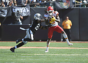 Sep 15, 2019; Oakland, CA, USA; Kansas City Chiefs wide receiver Demarcus Robinson (11) catches a pass against Oakland Raiders defensive back Keisean Nixon (22) in the first half at Oakland-Alameda County Coliseum. The Chiefs defeated the Raiders 28-10..(Gerome Wright/Image of Sport)