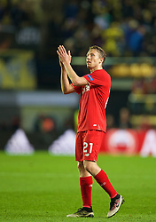 VILLRREAL, SPAIN - Thursday, April 28, 2016: Liverpool's Lucas Leiva looks dejected after the injury-time 1-0 defeat to Villarreal CF during the UEFA Europa League Semi-Final 1st Leg match at Estadio El Madrigal. (Pic by David Rawcliffe/Propaganda)