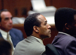 July 13, 1995 - Los Angeles, California, United States of America - Former NFL star running back O.J. Simpson looks on during his trial of  for the murder of his former wife, Nicole Brown Simpson and a friend of hers, restaurant waiter, Ron Goldman in Los Angeles County Superior Court in Los Angeles, California on July 13, 1995..Credit: Steve Grayson / Pool via CNP (Credit Image: © Steve Grayson/CNP via ZUMA Wire)