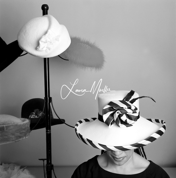 1/28/01 Ellen Johnson wears one of the Sunday hats that she makes. photo by L.Mueller/The Charlotte Observer