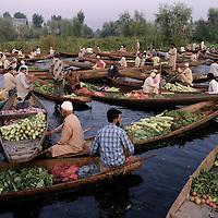 A floating vegetable market in Dal lake, Srinagar, the summer capital of Kashmir, India.