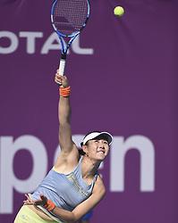 DOHA, Feb. 10, 2018  Duan Yingying of China serves during the qualifying match against Barbora Krejcikova of the Czech Republic at the 2018 WTA Qatar Open in Doha, Qatar, on Feb. 10, 2018. Duan Yingying won 2-0. (Credit Image: © Nikku/Xinhua via ZUMA Wire)