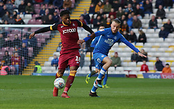 George Cooper of Peterborough United in action with Jermaine Anderson of Bradford City - Mandatory by-line: Joe Dent/JMP - 09/03/2019 - FOOTBALL - Northern Commercials Stadium - Bradford, England - Bradford City v Peterborough United - Sky Bet League One